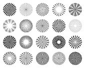 Set of abstract patterns of sunbeams. Round shapes. Vector design elements
