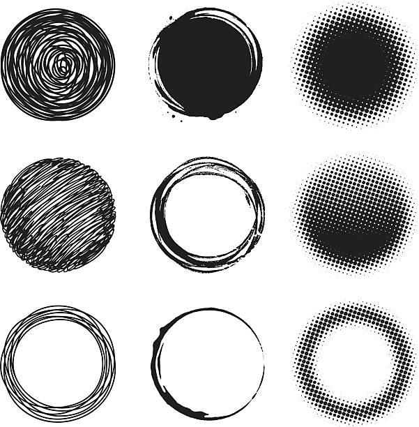 Circle design elements Circle design elements bad condition stock illustrations