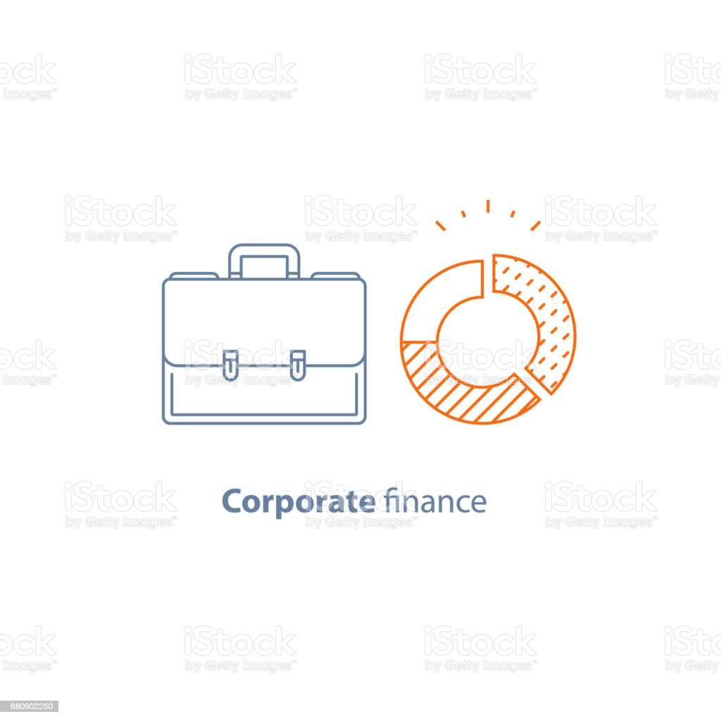 Circle diagram, company expenses, financial analytics services, corporate finance report, fund management and accountancy vector art illustration