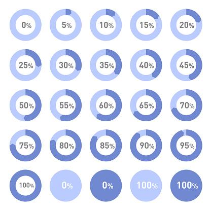 Circle Diagram Pie Charts Infographic Elements. Progress Wheel Vector