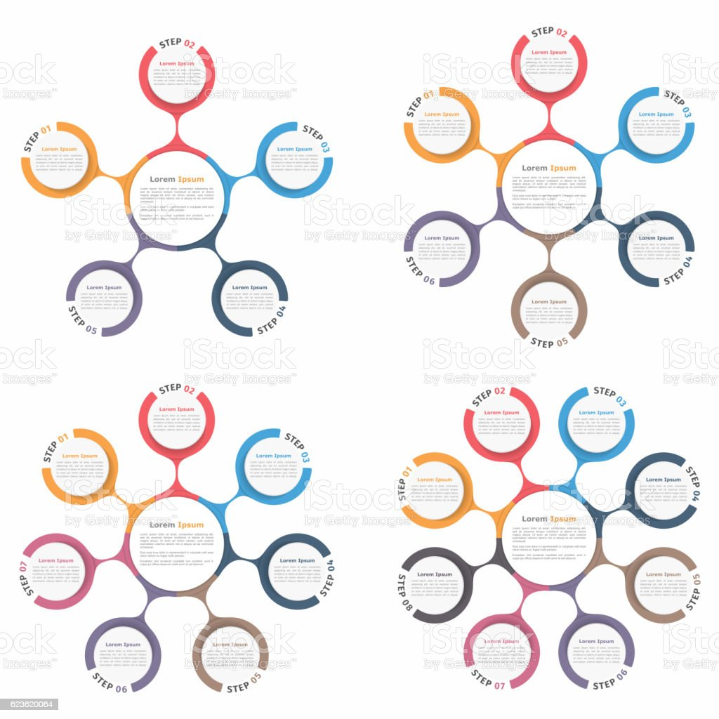 Circle Diagrams Set vector art illustration