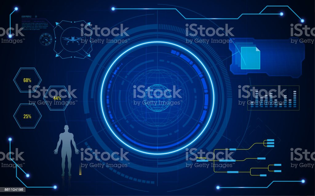 circle digital hud ui screen virtual tech system concept background vector art illustration