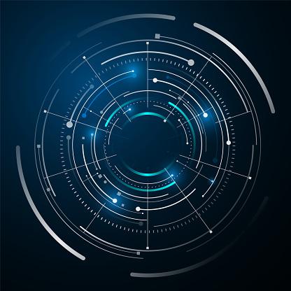 Circle Digital Tech Design Concept Background - Immagini vettoriali stock e altre immagini di Astratto