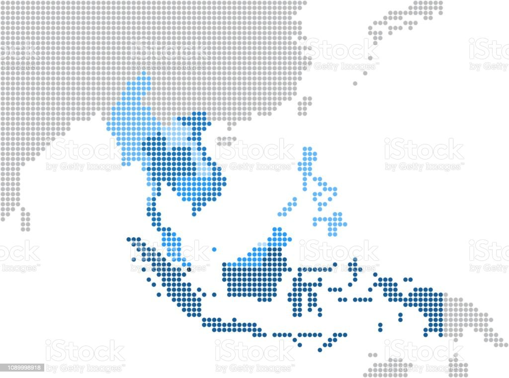 Circle Dot South East Asia And Nearby Countries Map Stock ...