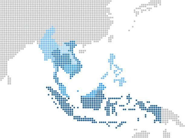 circle dot south east asia and nearby countries map. - azja południowo wschodnia stock illustrations