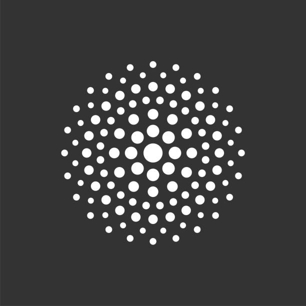 ilustrações de stock, clip art, desenhos animados e ícones de circle dots pixel logo template illustration design. vector eps 10. - amiba