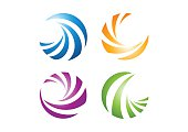 circle elements logo, sphere abstract elements symbol icon vector design
