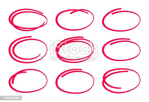 Circled ellipses editing marks red pen circling something important.