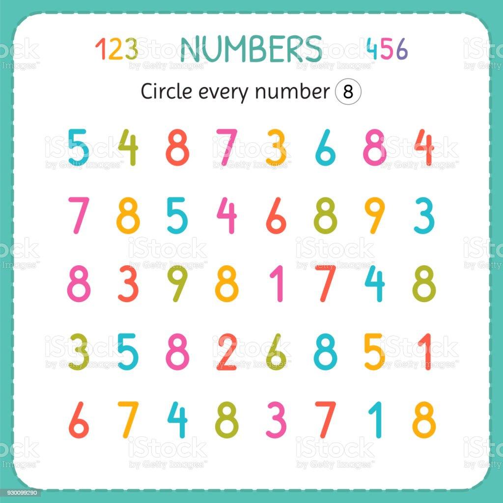 Kreuzen Sie Jede Zahl Acht Zahlen Für Kinder Arbeitsblatt Für ...
