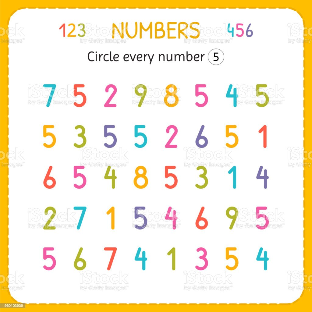 Circle Every Number Five Numbers For Kids Worksheet For Kindergarten ...