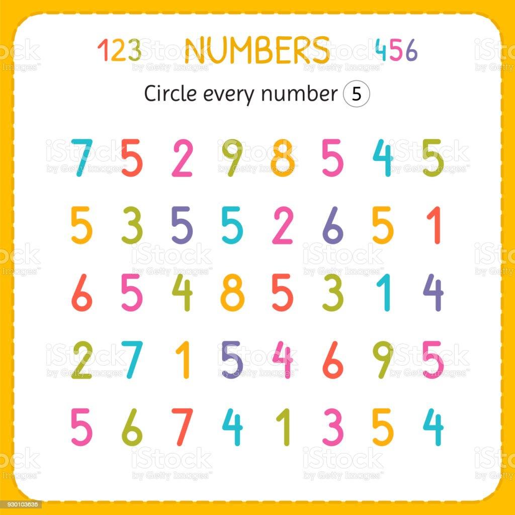 Jede Nummer Fünf Kreise Zahlen Für Kinder Arbeitsblatt Für ...