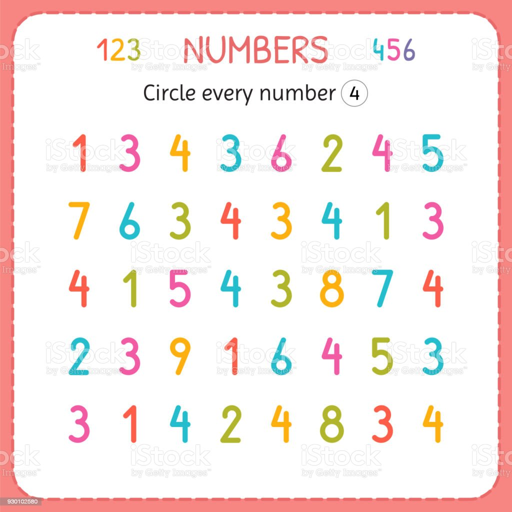Circle Every Number Four Numbers For Kids Worksheet For Kindergarten