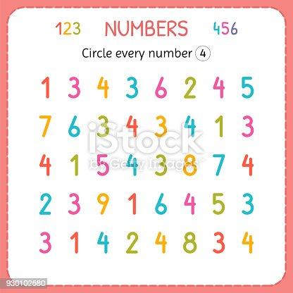 Jede Nummer Vier Kreise Zahlen Für Kinder Arbeitsblatt Für ...