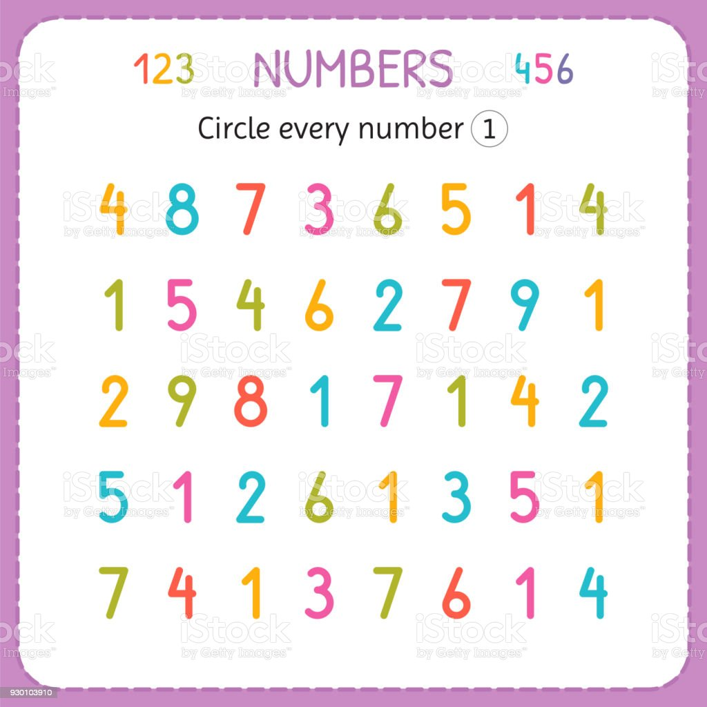 Circle Every Number One Numbers For Kids Worksheet For Kindergarten ...