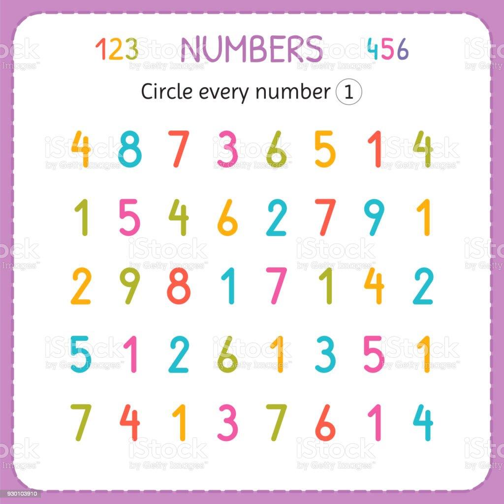 Kreisen Sie Jede Nummer Eins Zahlen Für Kinder Arbeitsblatt Für ...