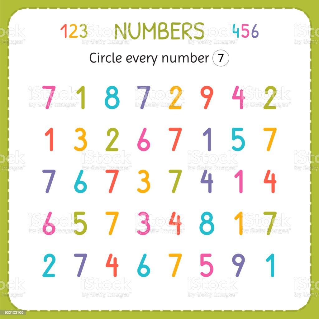 Kreuzen Sie Jede Zahl Sieben Zahlen Für Kinder Arbeitsblatt Für ...