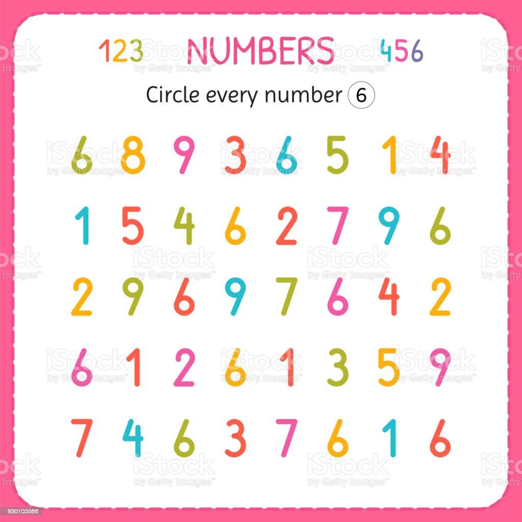 Ilustración de Círculo Cada Número Seis Números Para Niños Hoja De ...