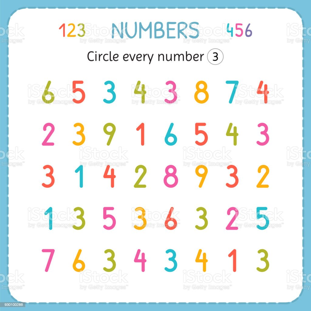 Circle Every Number Three Numbers For Kids Worksheet For ...