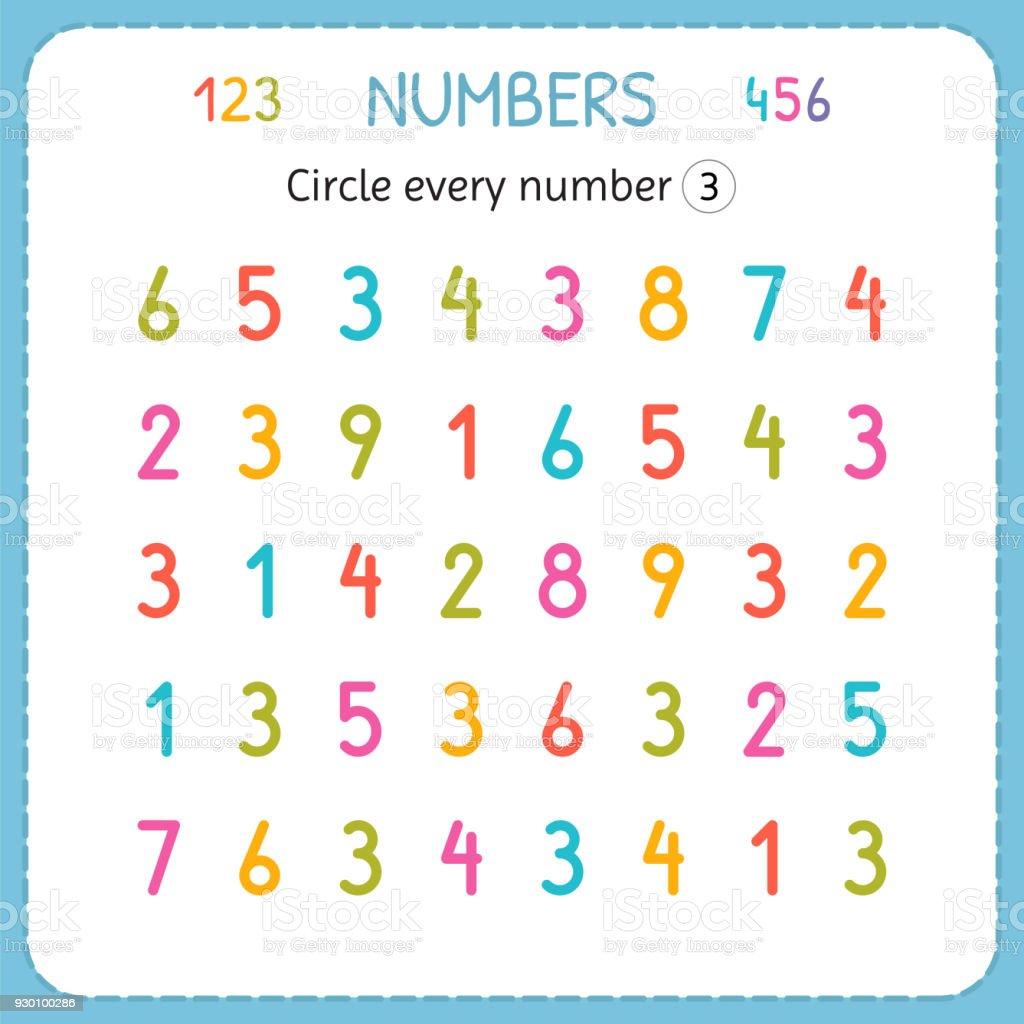Jede Nummer Drei Kreise Zahlen Für Kinder Arbeitsblatt Für ...
