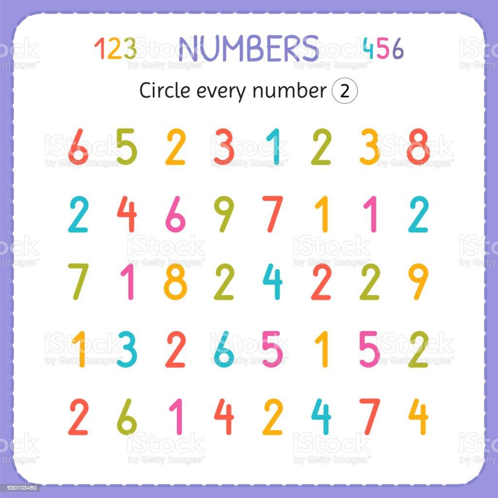 Jede Nummer Zwei Kreise Zahlen Für Kinder Arbeitsblatt Für ...