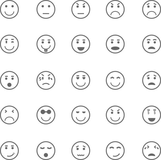 サークルの顔アイコンの白い背景 - 退屈の絵文字点のイラスト素材/クリップアート素材/マンガ素材/アイコン素材