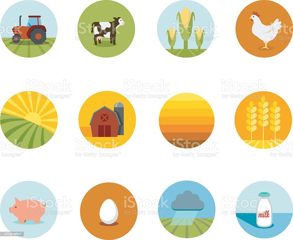 Circle Farming Icons vector art illustration