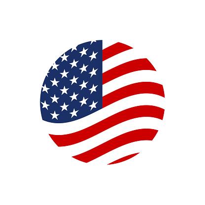 US circle flag icon. Waving American symbol. Vector illustration.