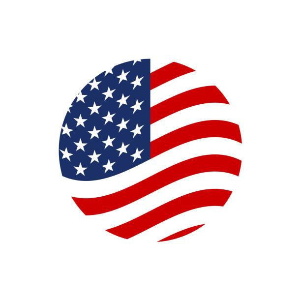 미국 원 플래그 아이콘입니다. 미국 심볼을 흔드는. 벡터 그림입니다. - 정치와 정부 stock illustrations