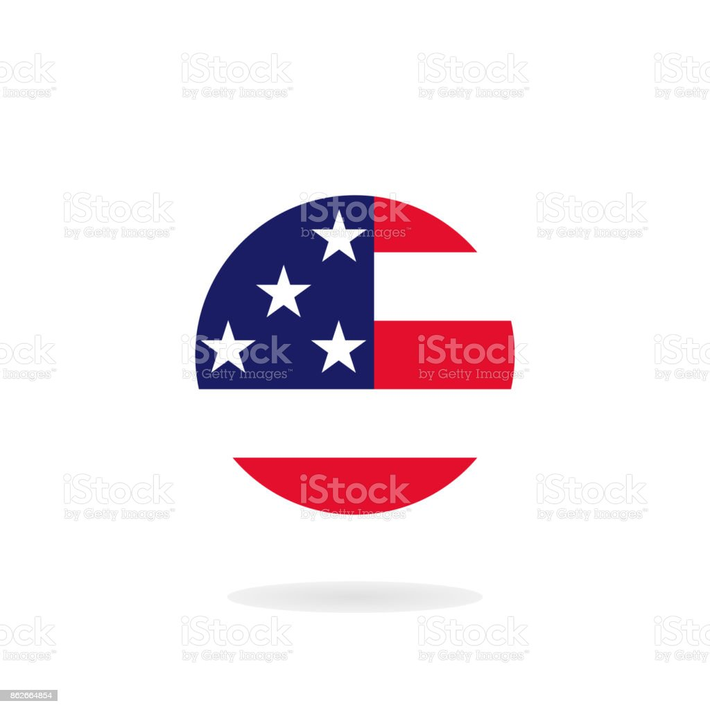 Circle flag United States of America. USA flag icon. Vector