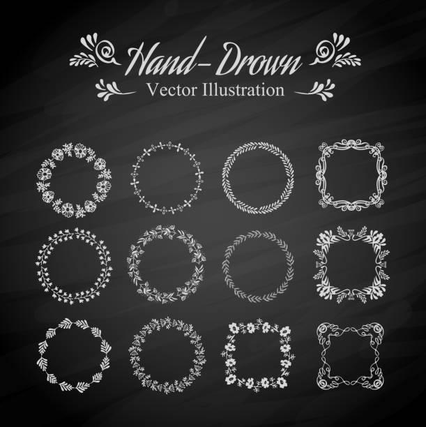 ilustrações, clipart, desenhos animados e ícones de circle floral fronteiras - bordas florais