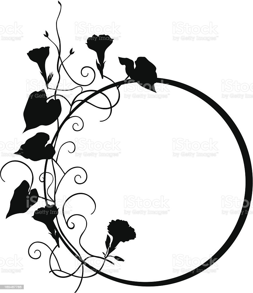 Circle floral frame II vector art illustration