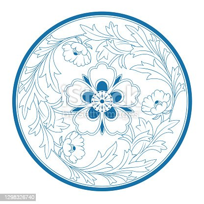 istock Circle Floral Pattern of China style 1298326740