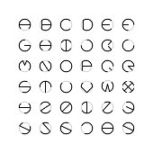 Circle Font Typography Series Vector EPS File.