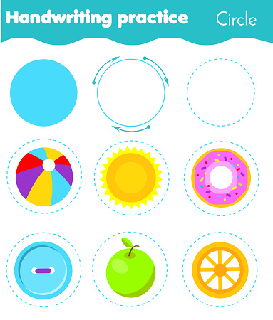 Circle form objects. Handwriting practice. geometric shapes for kids. Educational worksheet for children and toddlers.