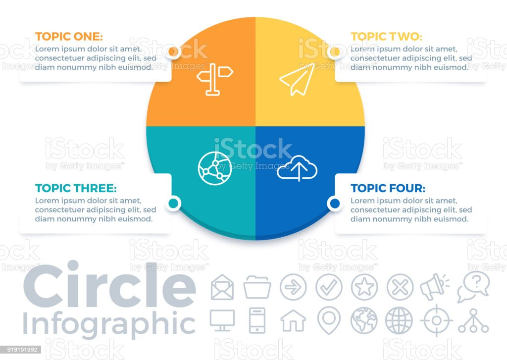 Circle Four Item Infographic Pie Chart vector art illustration