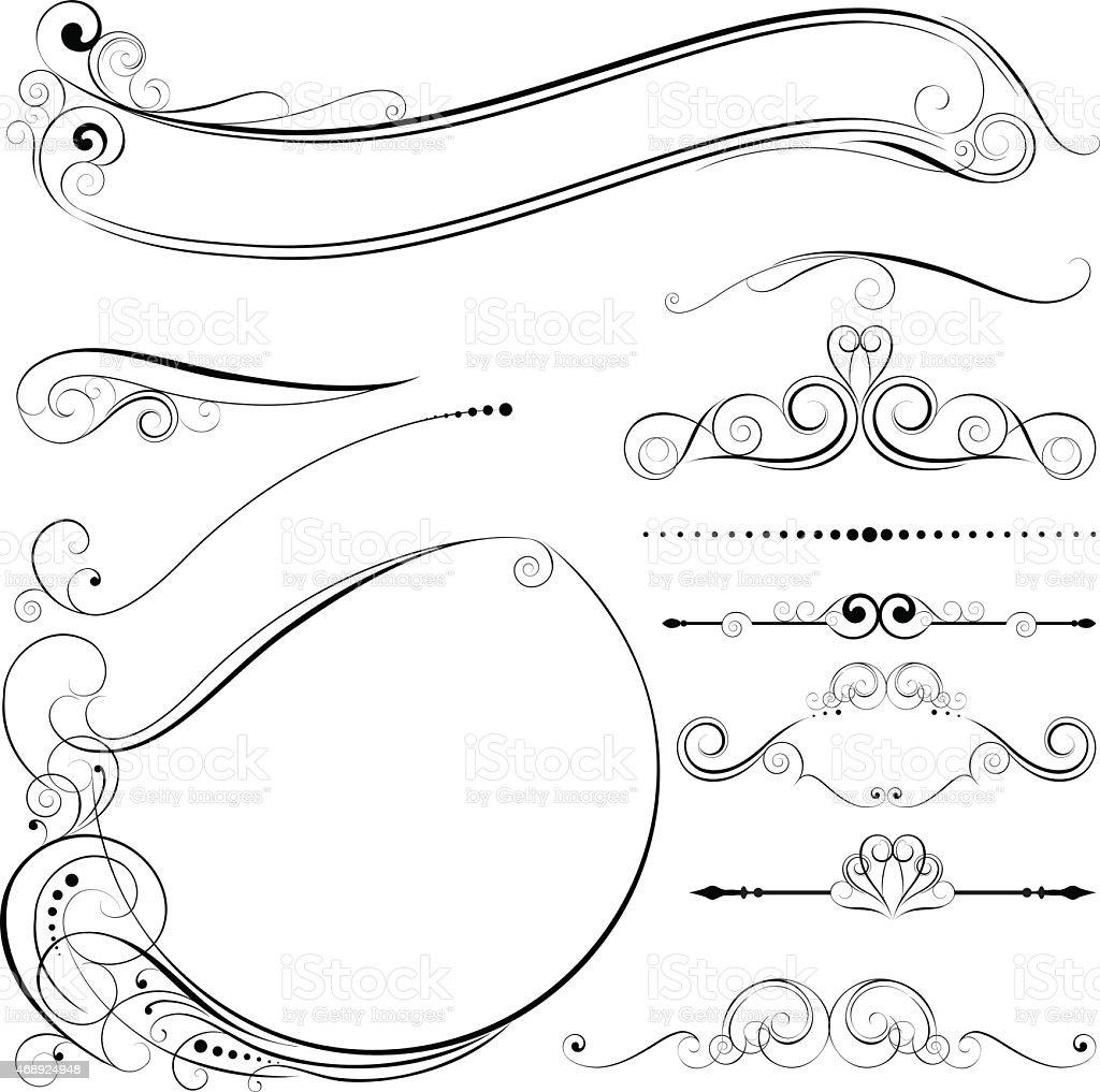 Circle frame and design elements vector art illustration