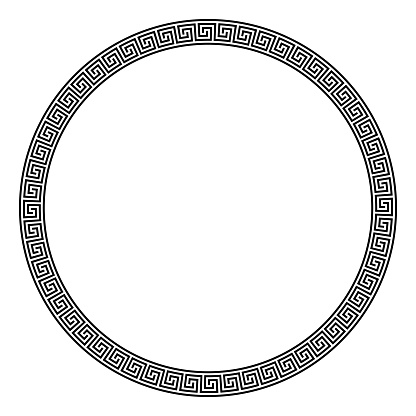 Circle frame made of seamless meander pattern