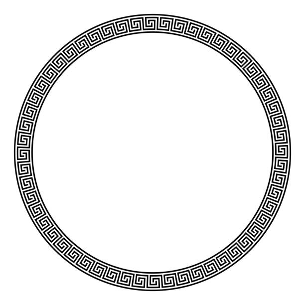 Circle frame made of seamless meander pattern vector art illustration