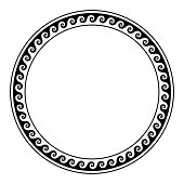Circle frame, made with a running dog pattern