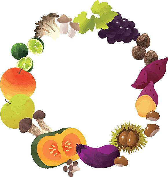サークルフレームの秋の野菜 - 松茸点のイラスト素材/クリップアート素材/マンガ素材/アイコン素材