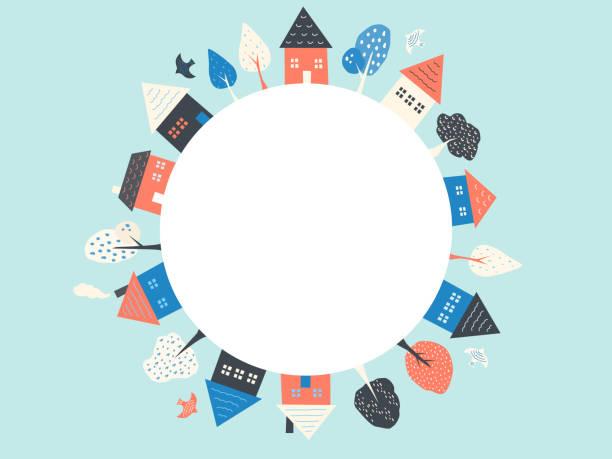 stockillustraties, clipart, cartoons en iconen met cirkel frame van huizen, bomen en vogels. - buren