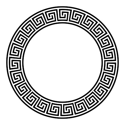 Circle frame, seamless disconnected meander pattern