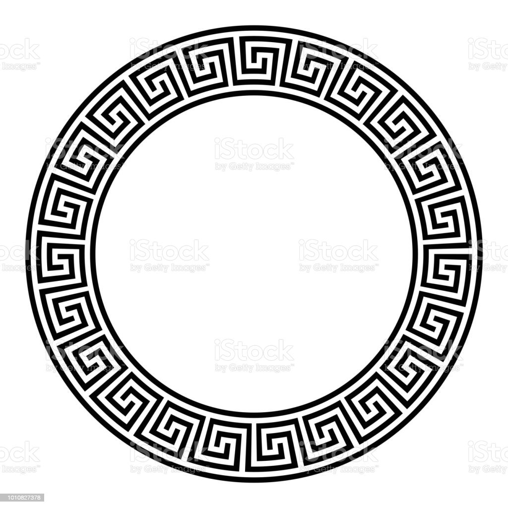Circle frame, seamless disconnected meander pattern vector art illustration