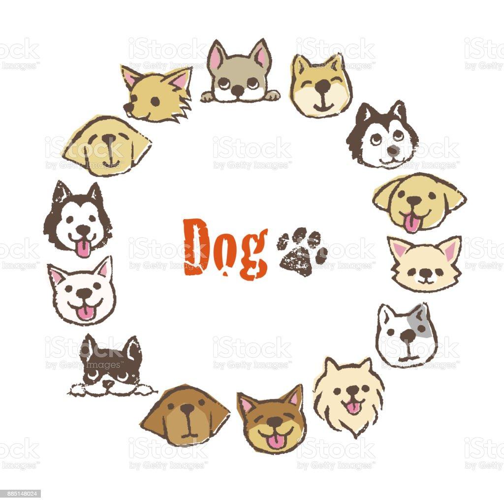 Ilustración De Marco De Círculo Con Lindos Perros Diseño Del Marco Y