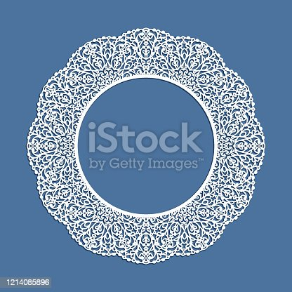 Circle frame with ornamental lace border, cutout paper pattern, elegant template for laser cutting, round lacy decoration for wedding invitation card with place for text