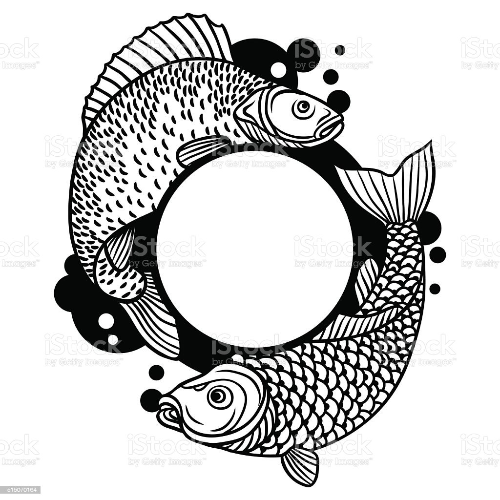 Circle Frame With Decorative Fish Image For Design On T Stock Vector ...