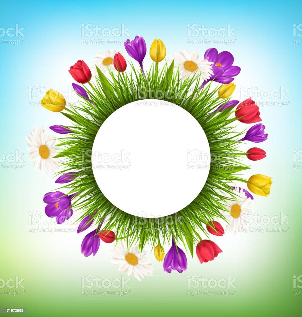 Ilustración de Círculo Marco Con La Hierba Y Las Flores Floral Fondo ...