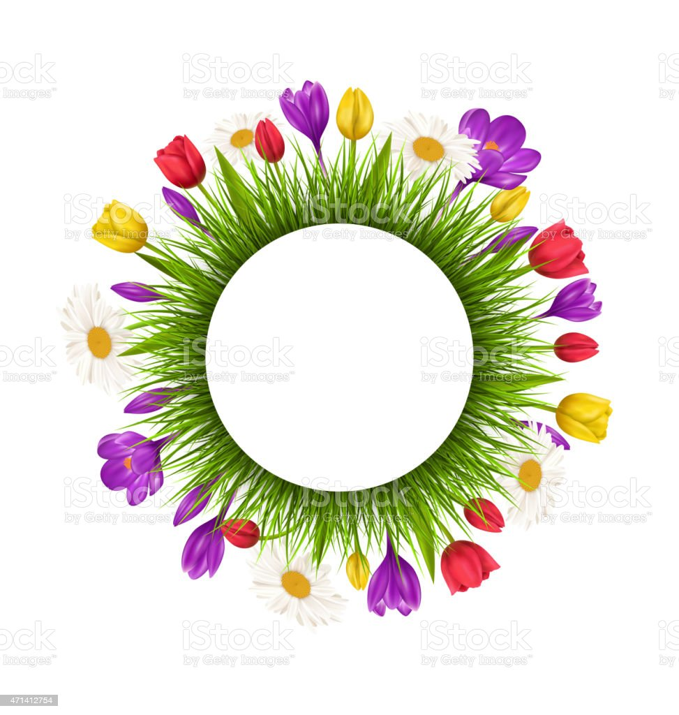 Circle frame with green grass and flowers isolated on white vector art illustration