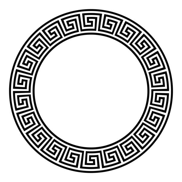 Circle frame with seamless meander pattern vector art illustration