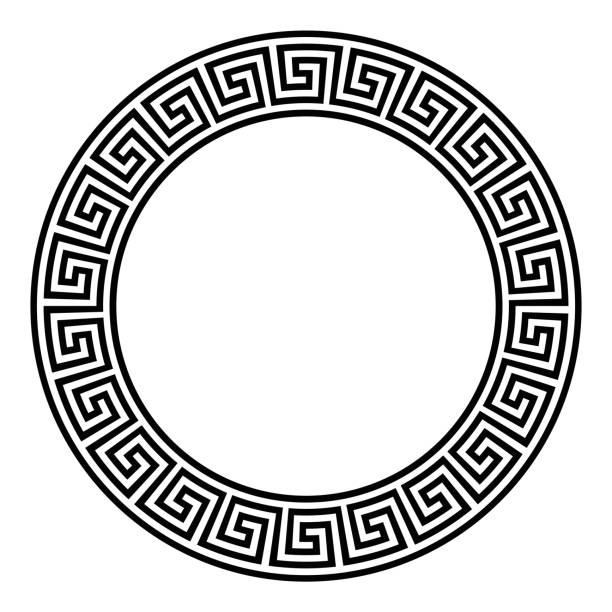 Kreis-Rahmen mit nahtlosen Mäander-Muster – Vektorgrafik